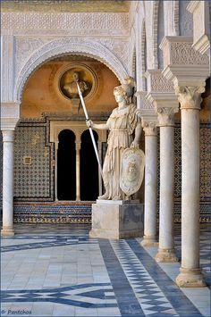Patio of Casa de Pilatos in Seville - Andalusia, Spain Architecture Antique, Islamic Architecture, Places To Travel, Places To Go, Seville Spain, Europe, Paris Ville, Spain And Portugal, Andalusia