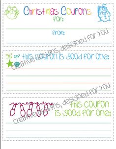 INSTANT DOWNLOAD Printable Christmas coupons by JMWxDigitalDesigns