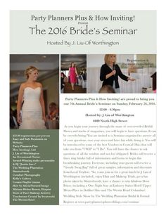 Bride's Seminar - Party Planners Plus Event Planning, Wedding Planning, Makeup Trial, Party Planners, Trials, One Shoulder Wedding Dress, Hair Makeup, Join, Lunch