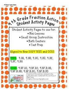 4th Grade Fraction Action Student Activity Pages - Aligned