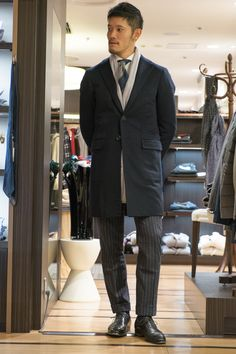 RING JACKET navy cashmere single chesterfield coat