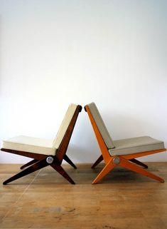 Interior design, decoration, loft, furniture,  Scissors chairs Pierre Jeanneret 1948-66