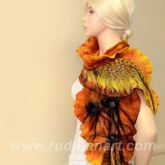 NEW Felted scarf 3D ART made from wool and silk Rust Black Orange Shibori Tulips. $179.00, via Etsy.