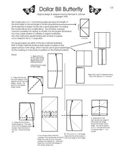 Free Folding Diagram: Butterfly Money Origami Part 1 of 3 - Instructions