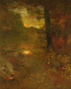 George Inness - Landscape at Sundown; The Close of Day (The Veteran's Return) oil on panel - 27 X 22 in.