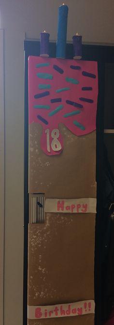 Locker design, birthday cake with light up birthday candles.