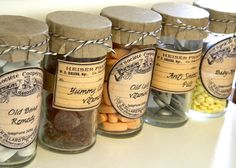Free Download:  Vintage Pharmacy Labels.   VERY cool idea for your display! DIY Project