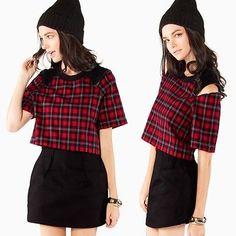 Cropped Red Tartan Plaid Open Cold Shoulder Zipper Crop Top Black Contrast