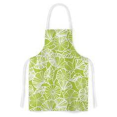 Kess InHouse Jacqueline Milton 'Vine Shadow Lime' Floral Artistic Apron