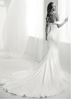 Fantastic Si Mian Tan Off-the-shoulder Neckline Natural Waistline Mermaid Wedding Dress