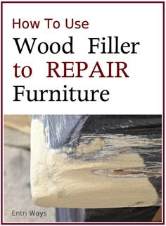 See how to use wood filler to repair furniture. This tutorial with photos teaches you how to repair broken moldings, fill dents, and fill broken veneer. Oak Furniture Land, Diy Garden Furniture, Furniture Repair, Dining Room Furniture, Furniture Stores, Furniture Refinishing, Painting Furniture, Furniture Makeover, Refinished Furniture