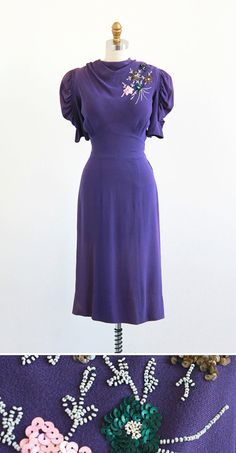 vintage 1930s dreamy dreams purple swing dress | #vintage