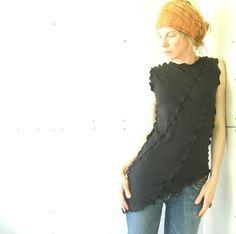 ASYMMETRICAL TOP women  clothing  tank tops  shirts  tops  handmade  custom  treehouse28  black shirt  yoga shirt  maternity tops