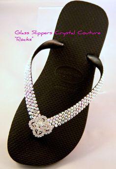 Custom Crystal Havaianas plana o cuña Cariris sandalias con