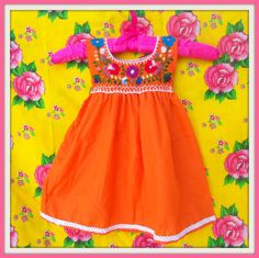 Lorenza Handmade Embroided Mexican Orange Baby Tunic Dress I sooooo want this for Ailani! So cute and with this she can represent a bit of her culture! Beautiful Babies, Beautiful Outfits, Baby Girl Fashion, Kids Fashion, Mexican Babies, Hippy Chic, Mexican Dresses, Girls Dresses, Summer Dresses