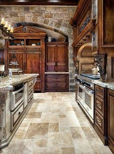 old world looking kitchens | Old World Tuscan Themed Kitchen Style With Arched Brick Wall | Kitchen ...