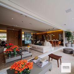 Integração de ambientes Living + Jantar + Terraço ✨ #living #decor #jantar #terraço #dining #fernandamarques #architecture #arquitetura #fernandamarquesarquiteta #confort #family