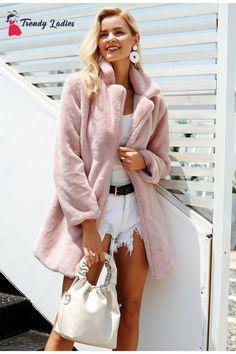 1c0cb428318c4 Elegant pink shaggy women faux fur coat streetwear Autumn winter warm plush  teddy coat Female plus size overcoat party
