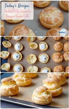 Learn how to make this 2-ingredient Savoury Herbed Philly Cream filling! Spread a little in the center of unsweetened cream puffs for a delicious appetizer. #recipe