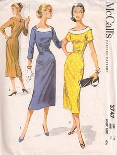 Vintage Dress Pattern Sheath Wiggle Dress Tab by Vintage 1950s Dresses, Vestidos Vintage, Vintage Outfits, Vintage Clothing, Moda Vintage, Vintage Glam, Vintage Ladies, 1950s Dress Patterns, Vintage Sewing Patterns