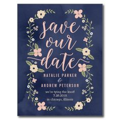 Floral Beauty Editable Color Save The Date Card