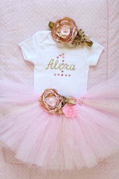 Beautiful Pink Gold Tutu Skirt Satin Flower by AverysCoutureLook
