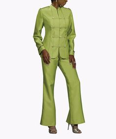 This Lime Mandarin Jacket & Pants - Women & Plus by Donna Vinci is perfect! #zulilyfinds
