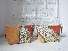 モロッコアラベスク柄ファブリックの化粧ポーチ・オレンジアラベスク - モロッコ雑貨とモロッコファッション Atelier FOUKARI