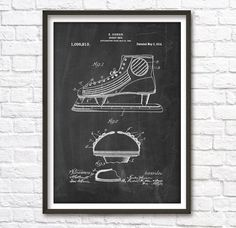 Hockey Shoe Patent Wall Art Poster by PatentPosters on Etsy
