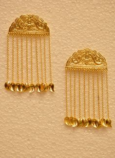 Designer Drop Chain Golden Earring With Traditional Indian Look