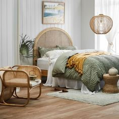 Shop the hottest trend this season, rattan & cane. Adding warmth to your space with natural elements, this light and durable furniture is the perfect accompaniment to a range of styles. Bali Bedroom, Linen Bedroom, Bedroom Green, Home Decor Bedroom, Master Bedroom, Bedroom Retreat, Bedroom Furniture Sets, Bedroom Sets, Estilo Tropical
