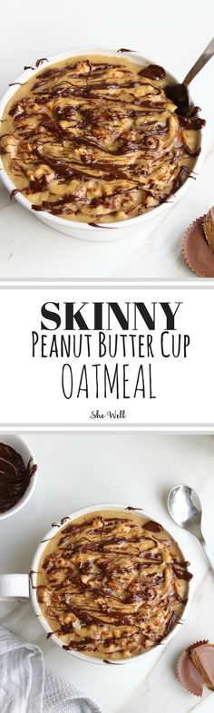 These Skinny Peanut Butter Cup Oats make the perfect healthy breakfast treat! Great for people who are vegan, gluten-free, dairy-free or vegetarian! Click to read now or pin for later!