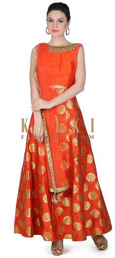 Buy this Orange anarkali suit with embroidered neckline only on Kalki