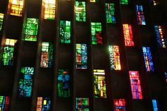 Stained Glass Rainbow Coventry Cathedral, in the Midlands, England. The original Gothic Cathedral was bombed on the night of November …