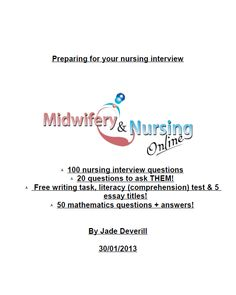 100 Nursing Interview Questions - Prep for interview £4.99
