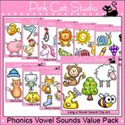 Phonics Vowel Sounds: This huge value packed collection of 50 unique clip art designs covers each of the short and long vowel sounds. The possibilities are endless for what you can create with these images. They will come in handy for almost any product you design. $