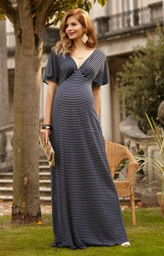 Celia Maternity Maxi Dress Navy Stripe by Tiffany Rose