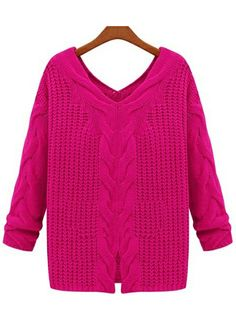 Rose Red V Neck Long Sleeve Cable Knit Sweater US$32.46