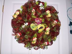 Buy Christmas Homemade Deco mesh wreath with  resin Animals by jeaniscreativewreath. Explore more products on http://jeaniscreativewreath.etsy.com