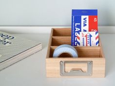Crafted by hand, in Japan, this wooden tray should sort you, and the desk, out. Three sections, removable dividers and a smart metal tag on the front. Simple & effective. 110x170x40mm