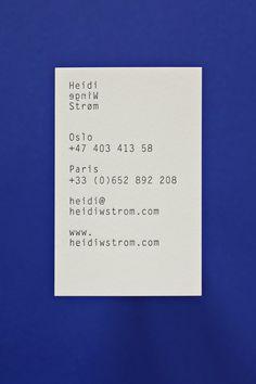 Heidi Winge Strøm business card design by Stahl R.