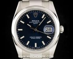 Rolex Stainless Steel Blue Baton Dial Date Gents 115200 Rolex Date, Omega Watch, Stainless Steel, Blue, Accessories, Jewelry Accessories
