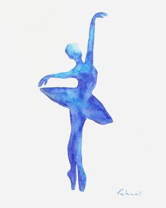 Blue Ballerina  Print from Original Watercolor by FluidDiamondArt, $12.00