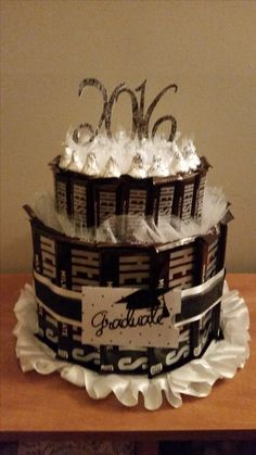 Made this Hershey's Candy Bar Cake with a gift card holder for My daughter's best friend's Graduation Party