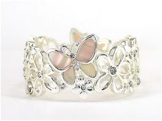 Women's #Fashion #Jewelry:  Mother Of Pearl Butterfly and Flowers Sterling Silver Ring: Rings