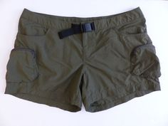 Womens Columbia Cross-on-Over Cargo Shorts Olive Green Waist Buckle L Hiking #Columbia #Shorts