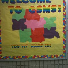 This bulletin board was also inspired from work on Pinterest. I think the original welcomed Fourth Grade. CSMS are the initials for Carl Stuart Middle School. This is in our Fifth Grade Hallway