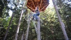 bicycle-powered treehouse elevator