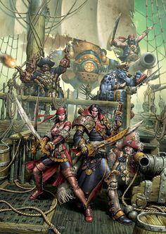 """""""Pirates Cover"""" by Andrea Uderzo   Privateer Press : Warmachine : Pirates of the Broken Coast   #Fantasy #Warmachine #Pirates"""