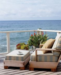 Coastal deck overlooking the beach